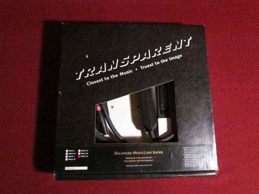 TRANSPARENT BALANCED MUSICLINK SUPER 25' PAIR XLR CABLES