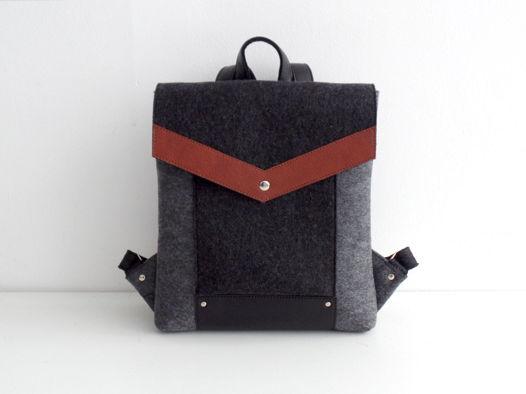 Рюкзак из фетра и натуральной кожи серо-черный
