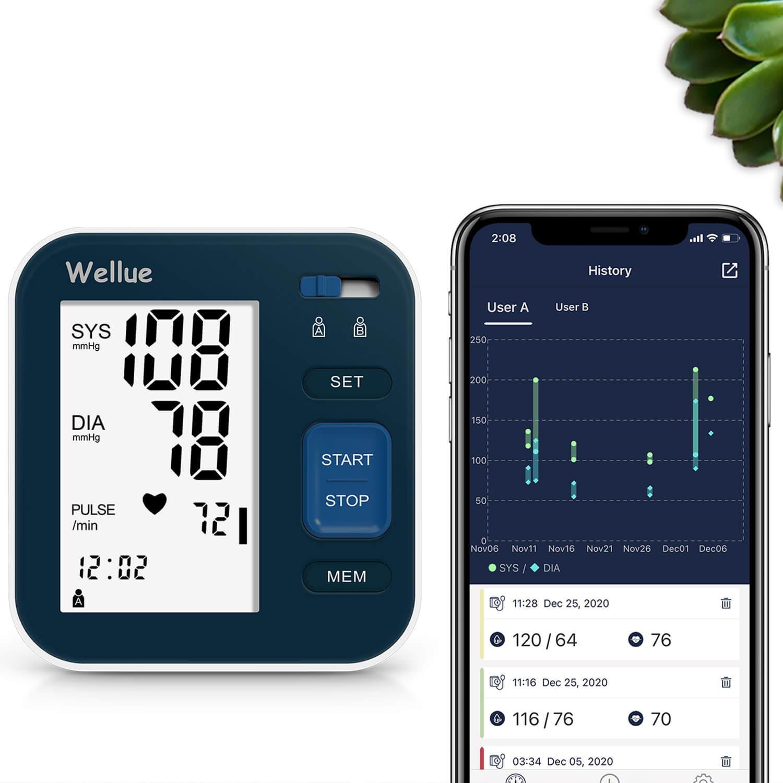 Das vollautomatische Wellue-Blutdruckmessgerät mit Bluetooth zeigt Daten in der App an.