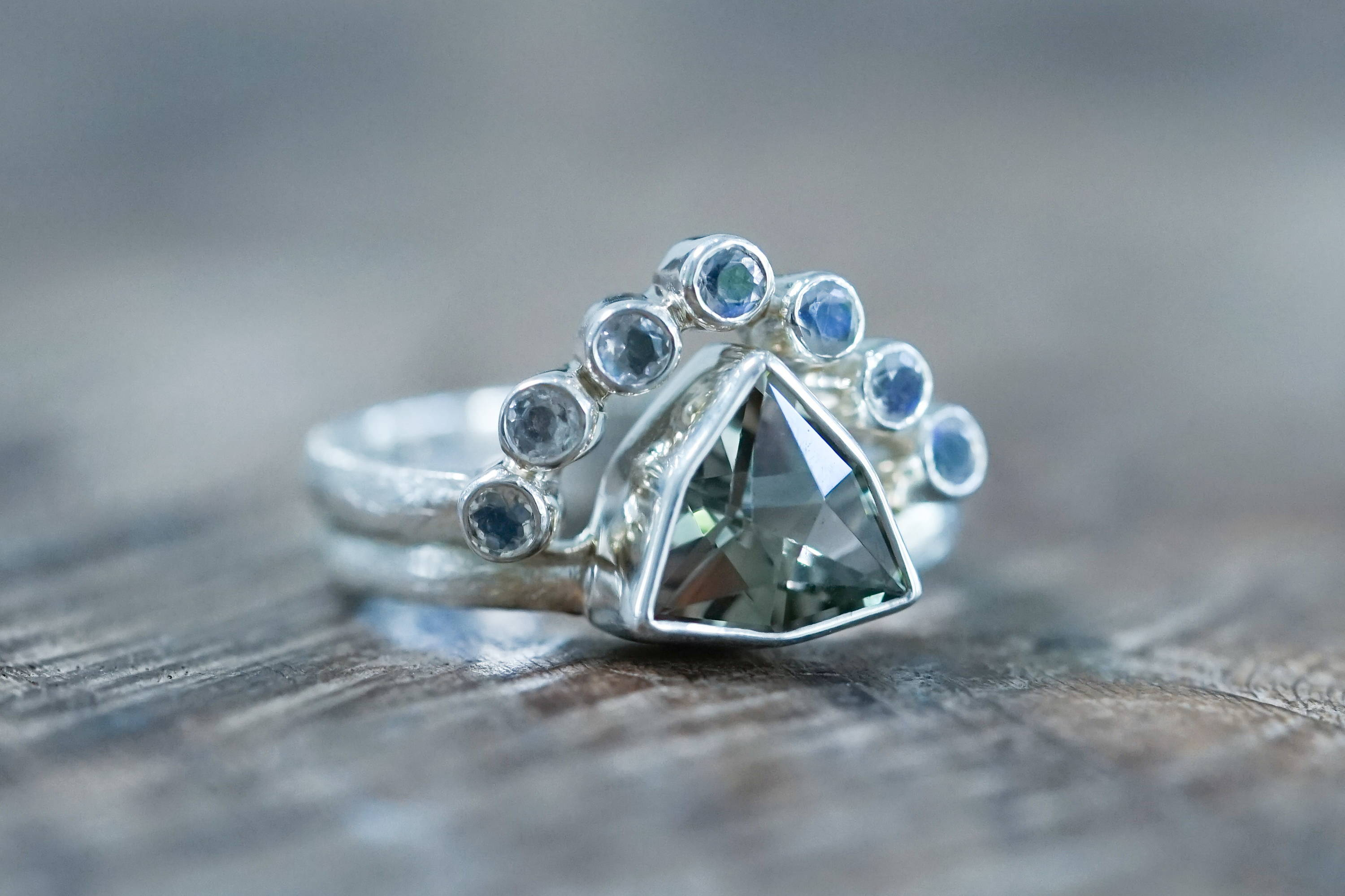 Custome recycled silver birthstone ring