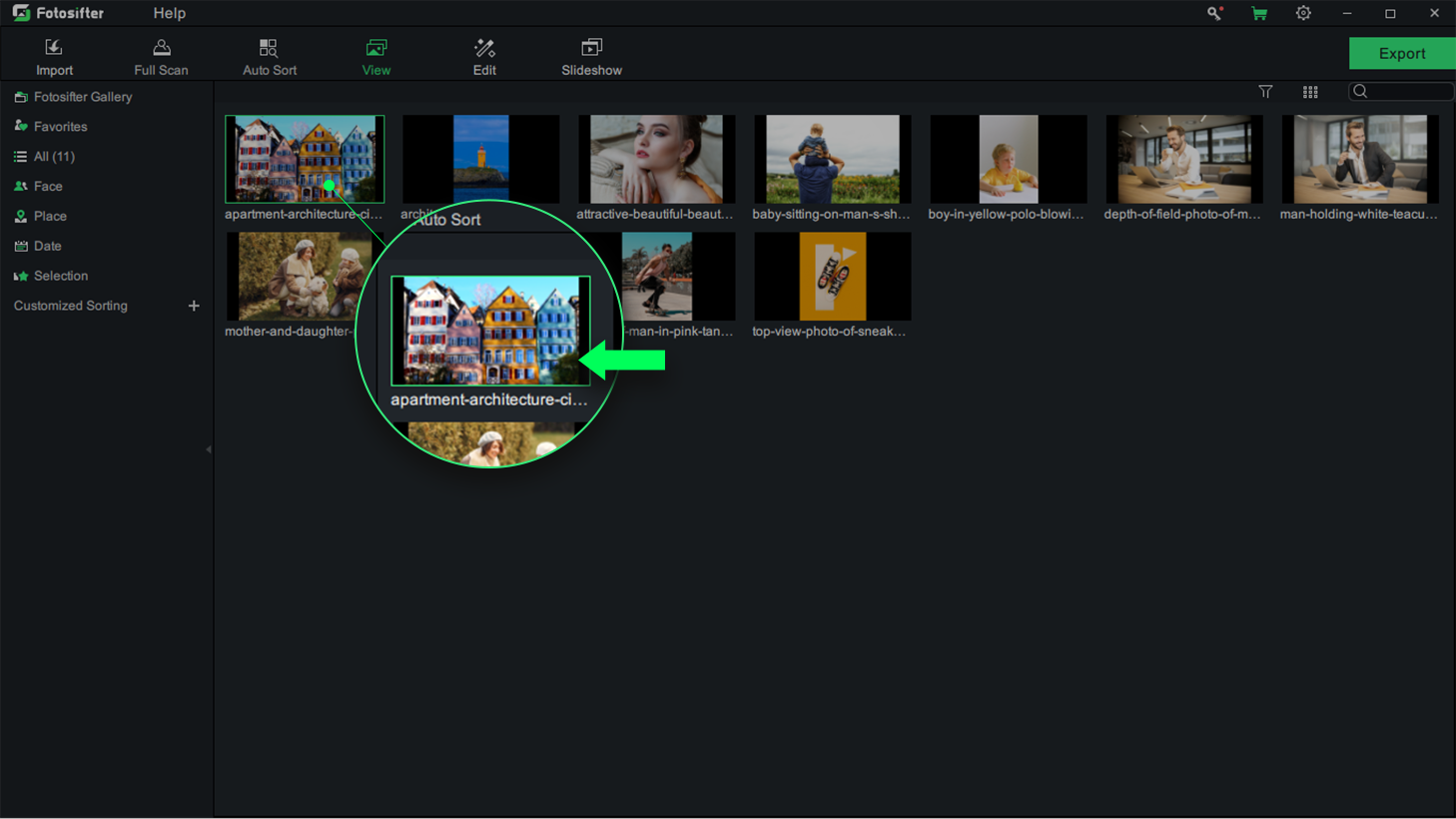 Enter Picture Edit Mode in Fotosifter Way 2