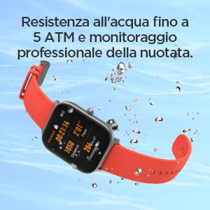 Amazfit GTS - Resistenza all'acqua fino a 5 ATM e monitoraggio professionale della nuotata