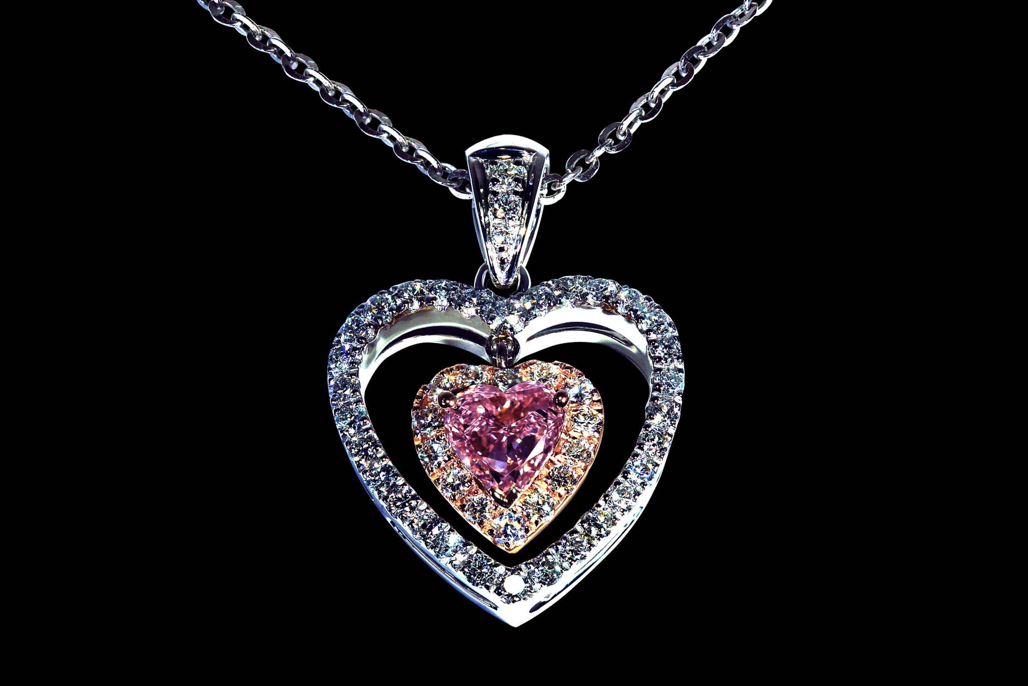 Fancy Vivid Purplish Pink Dangling Heart Pendant front view