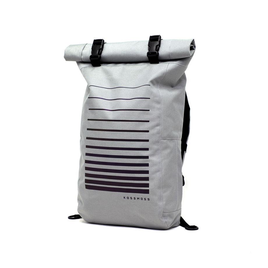 Серый ролл топ рюкзак со светоотражающим принтом / Light Gray Reflective Bag