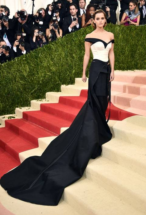 emma watson at the met gala wearing a sustainable outfit made by calvin klein and eco age