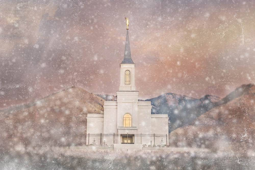 LDS art picture of the Star Valley Wyoming Temple during snowfall.