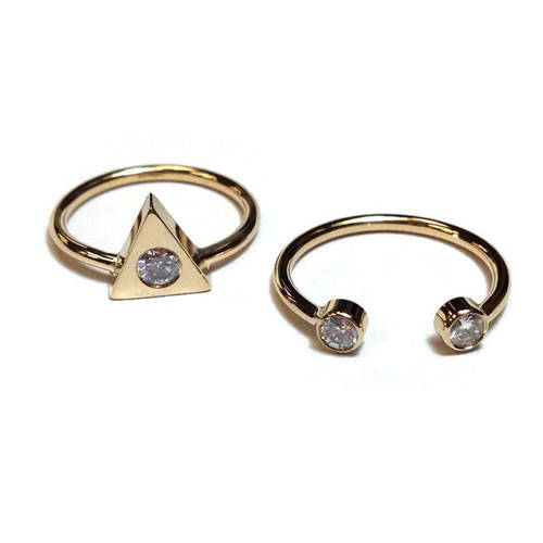 2 yellow gold rings with diamonds polished and cleaned