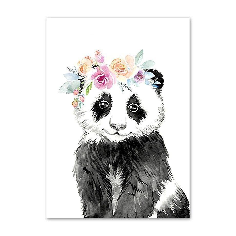 poster panda chapeau fleur style peinture