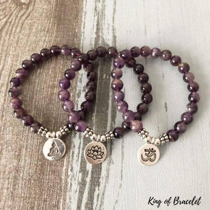 Bracelet en Mala en Perles d'Améthyste - King of Bracelet