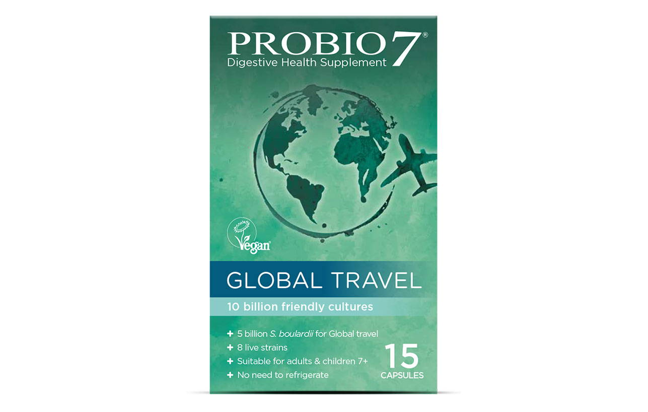 Probio7 Global Travel. A mix of friendly bacteria and a friendly strain of yeast, helping to keep your gut happy when travelling abroad.