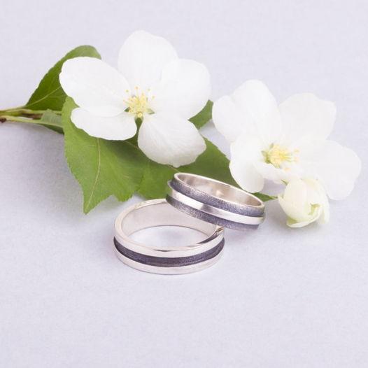 Обручальные кольца «Полосы» из серебра