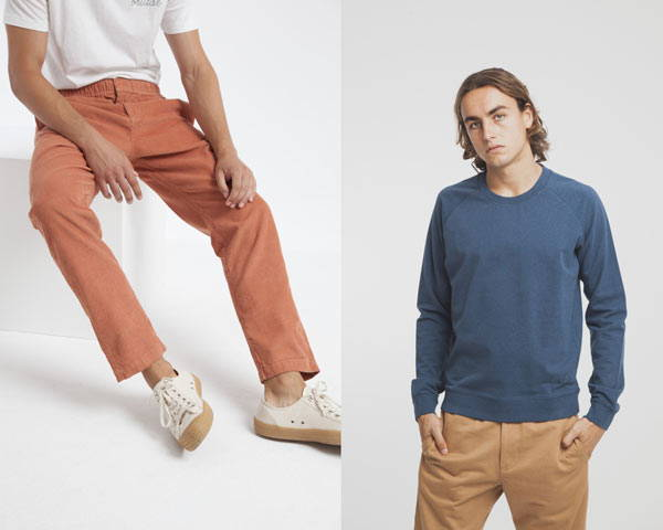 Man wearing soft orange organic cotton cords with a white tee and man wearing petrol blue sweatshirt with chinos