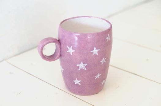 Большая фиолетовая кружка со звездами
