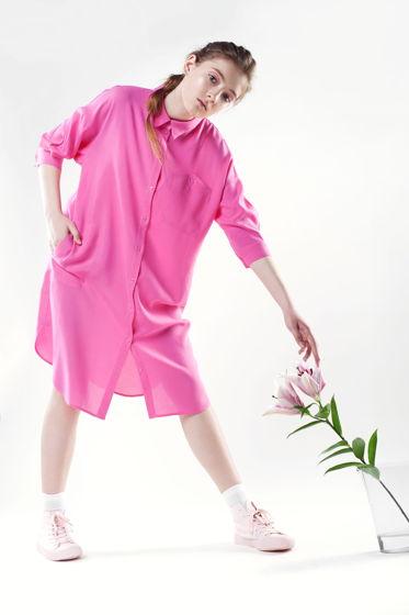 Платье - рубашка розовая