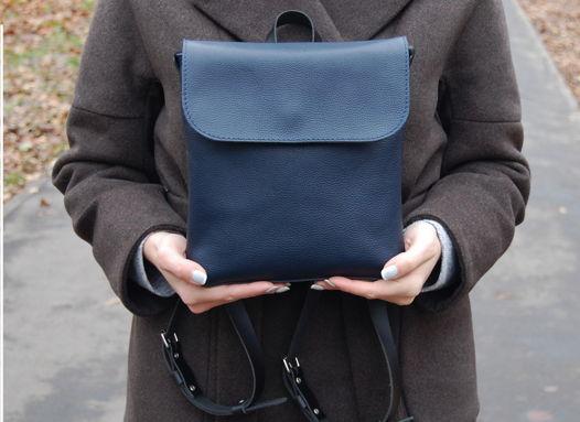 Кожаный синий женский рюкзак City mini blue