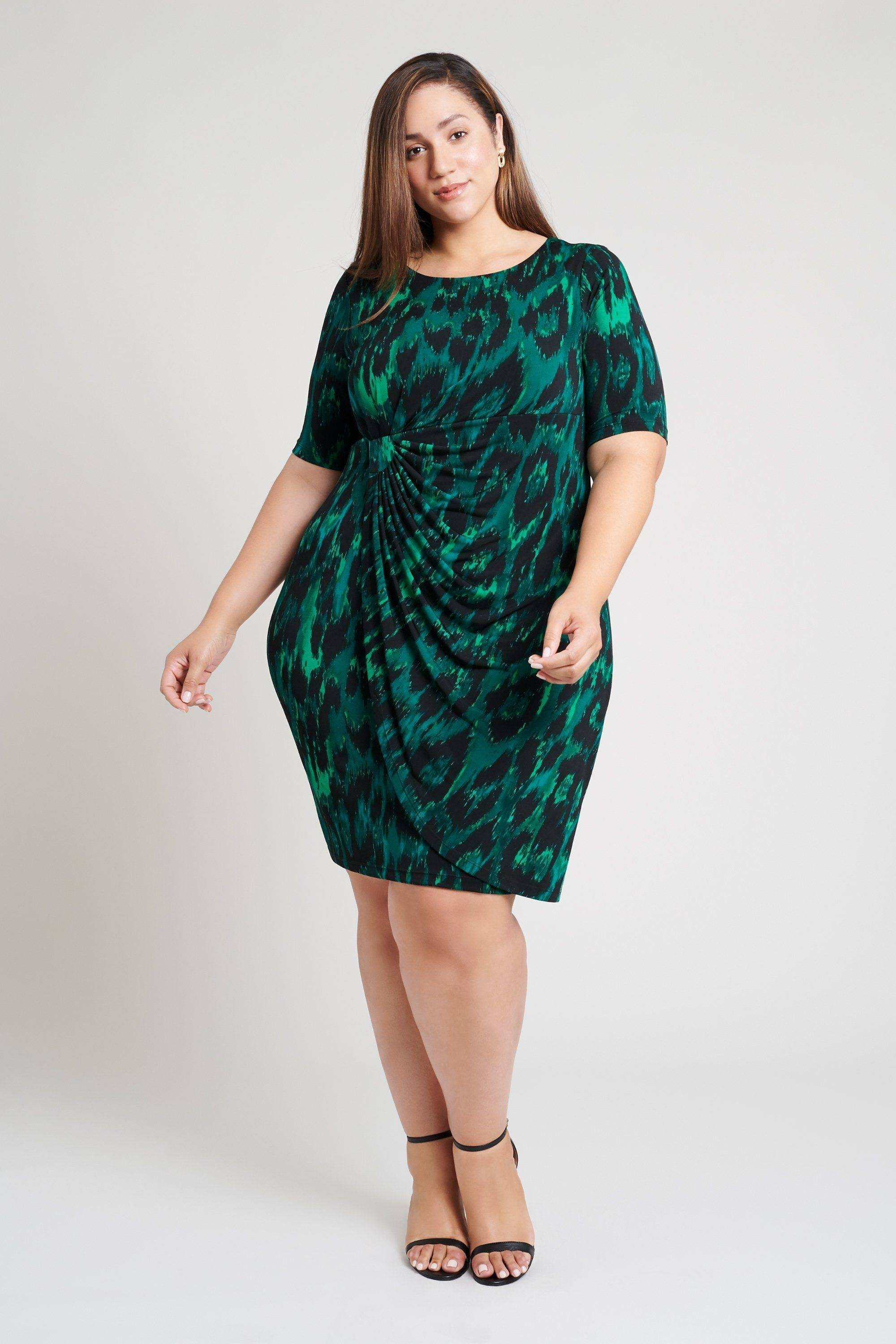 animal-print-green-dress-plus-size-hunter-jade-emerald-womens-connected-apparel