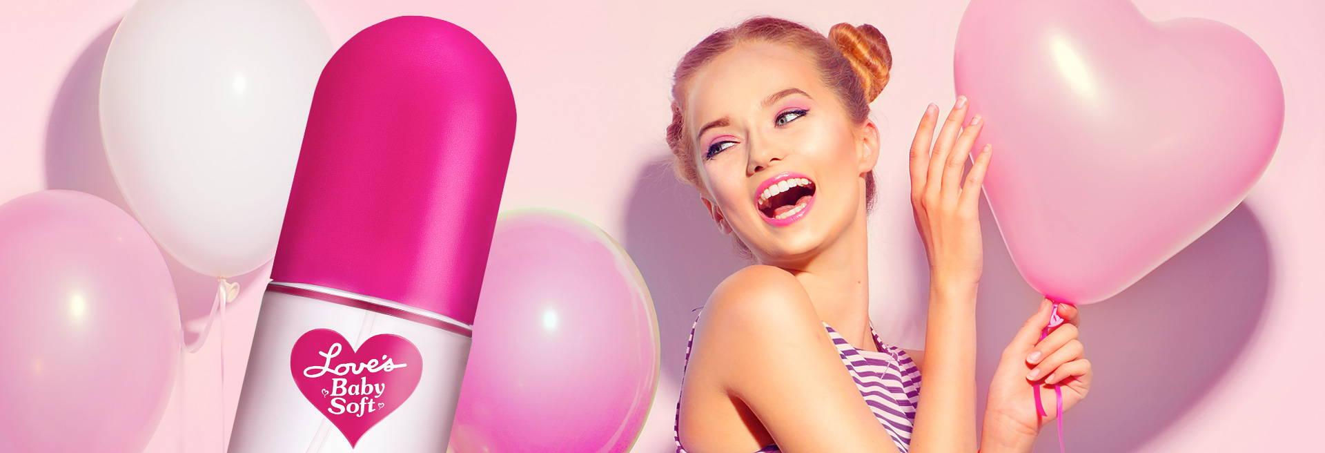 Love's Baby Soft bottle, happy girl, balloons