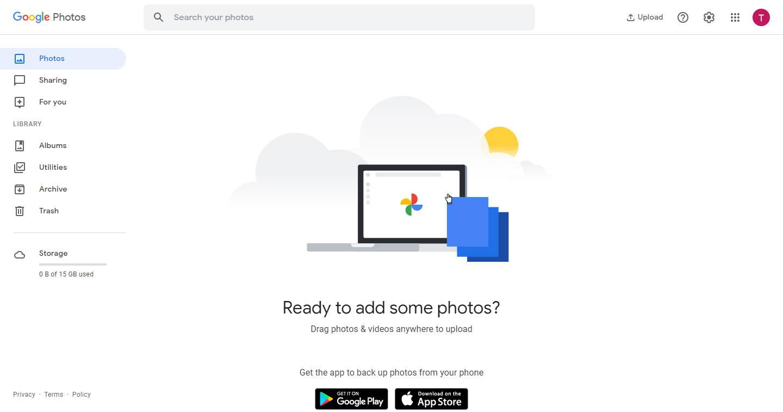 Google photos dashboard