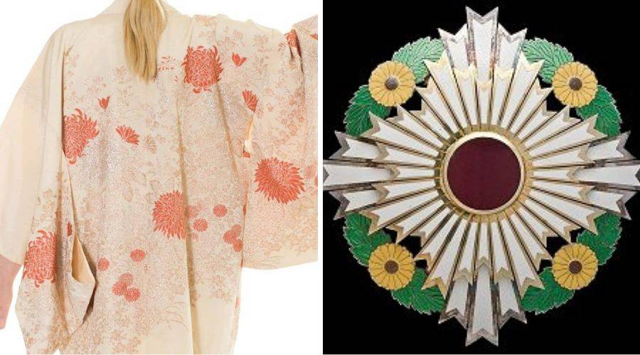 chrysanthemum embroidery on a haori jacket and The Supreme Order of the Chrysanthemum medal