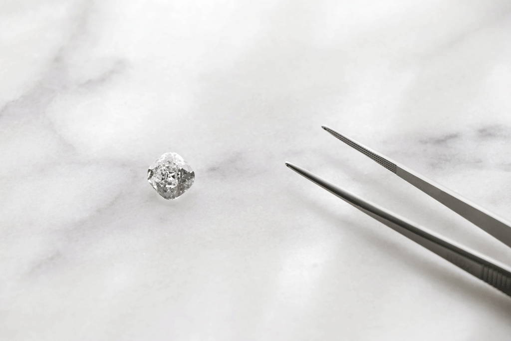 A close-up of a loose diamond and it's clarity