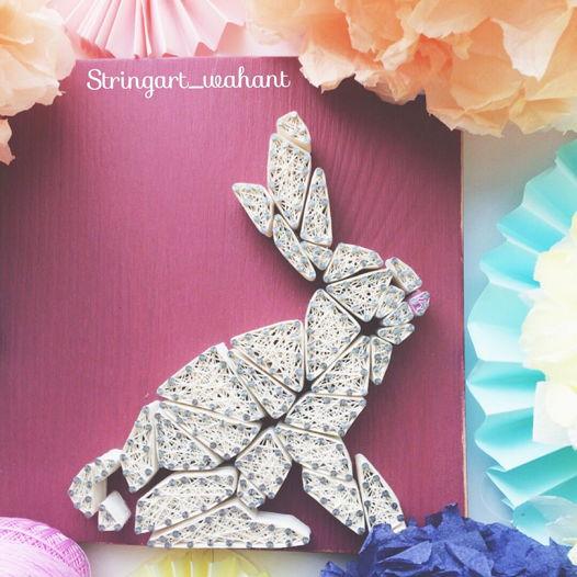 Интерьерное панно «Зайка Poly» string art
