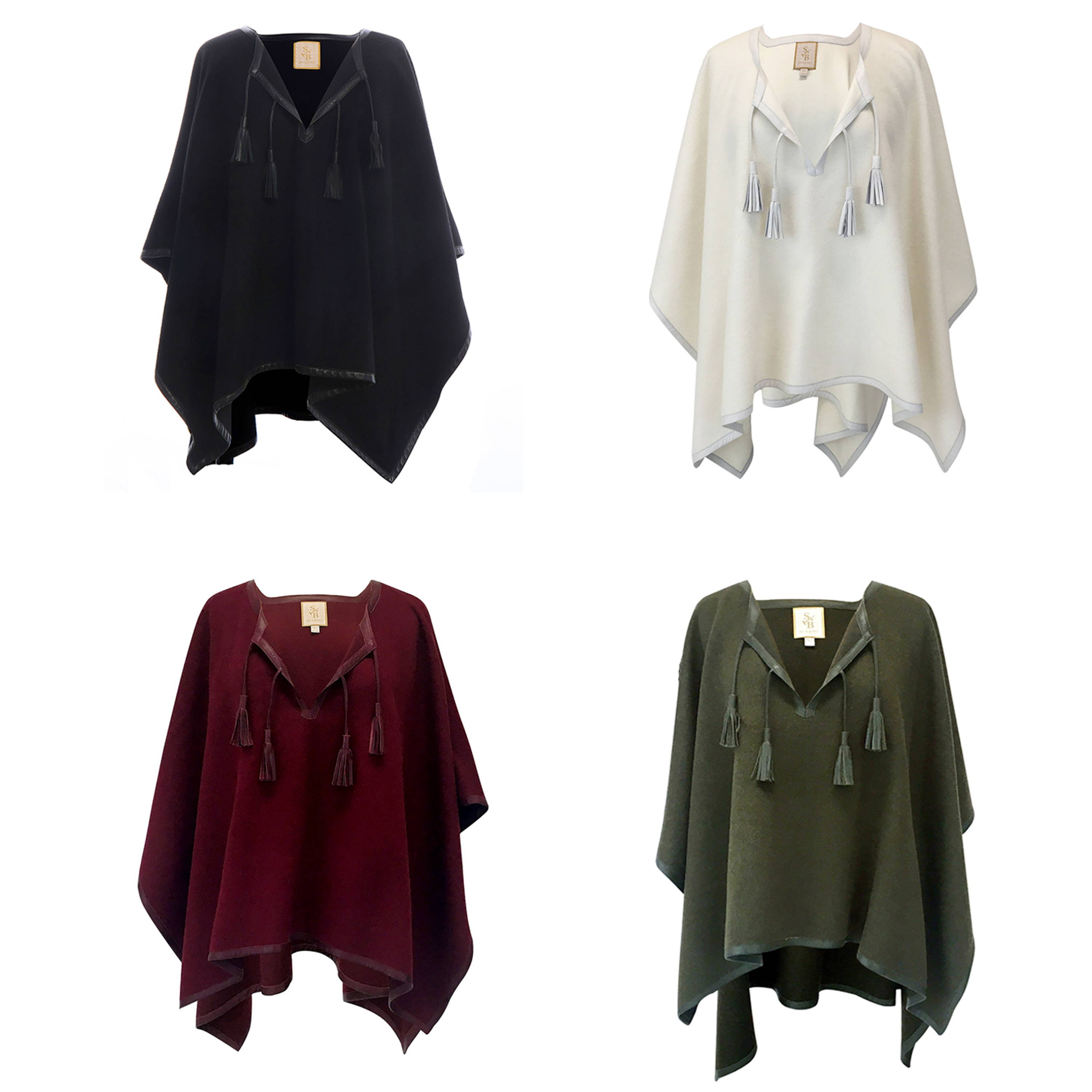 Collection of sustainable alpaca leather trim ponchos in black, stone/white, burgundy and olive green - Stick & Ball