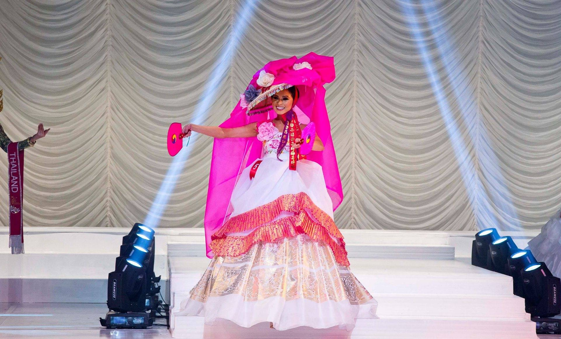ASHLEY WILLIAMS IN A MODERN HANBOK DRESS FOR PAGEANT SHOW MISS ASIA USA.
