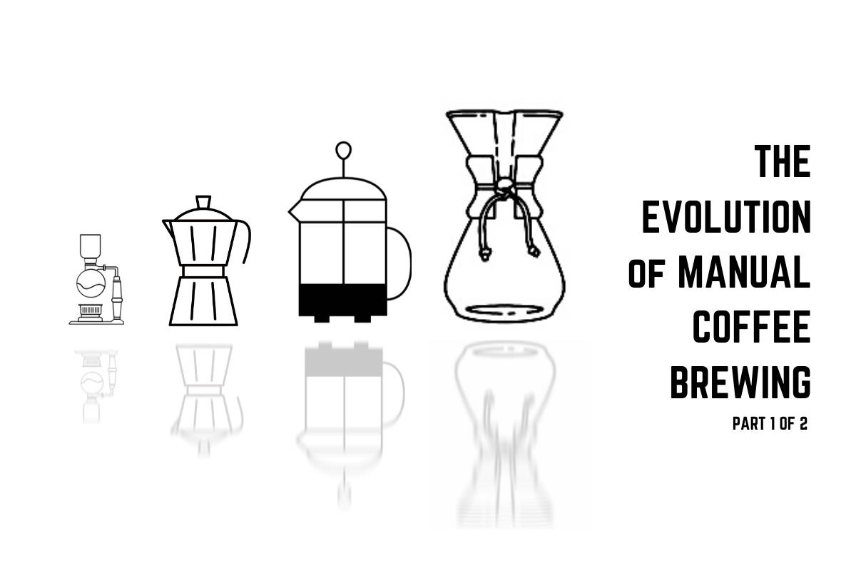 From oldest to newest, the first four major manual coffee brewing inventions.