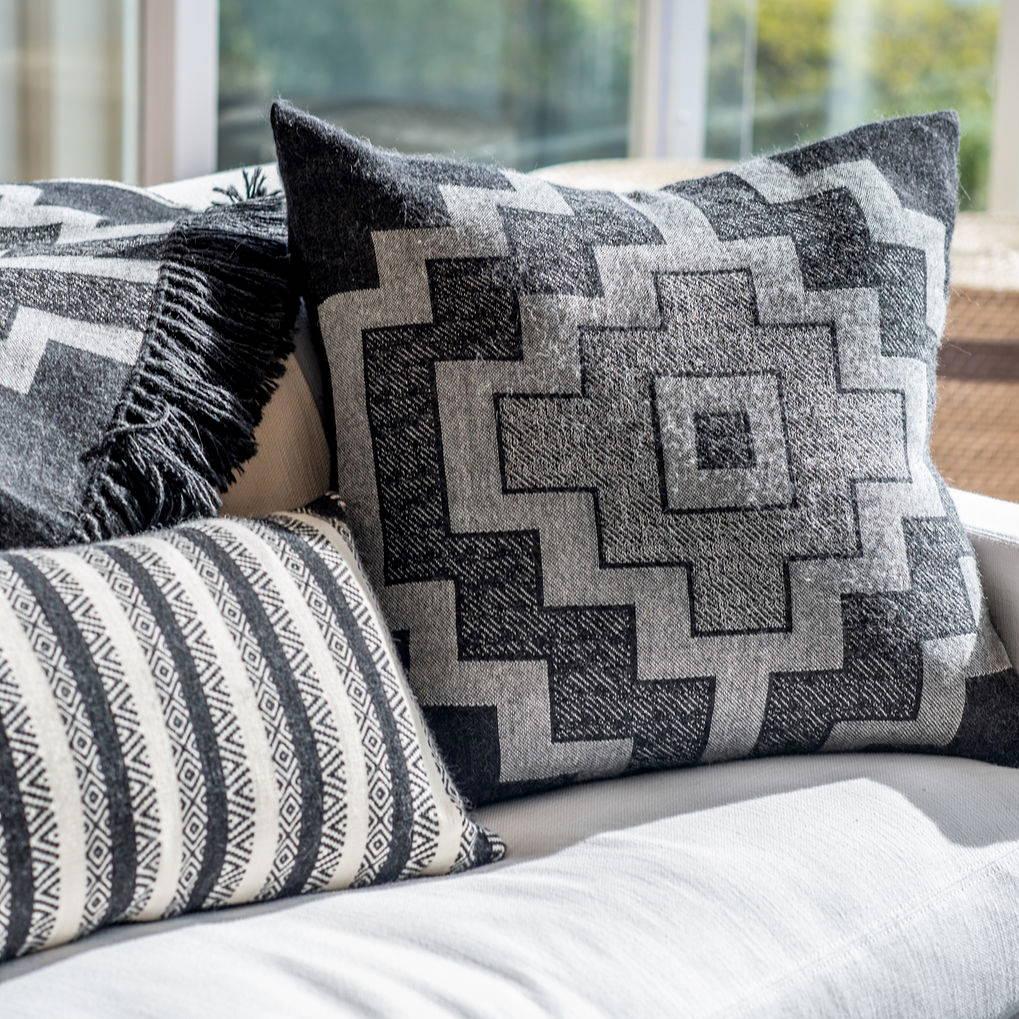 Display of Alpaca Pampa and Diamond Stripe Pillows and Alpaca Pampa Throw Blanket - Stick & Ball