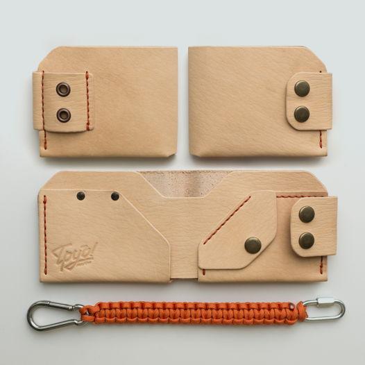 Кожаный кошелек с монетницей