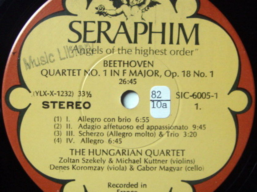 EMI Angel Seraphim / HUNGARIAN QT, - Beethoven The Early Quartets, MINT, 3LP Box Set!