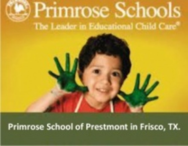 Primrose schools poster featuring a young smiling boy with painted palms