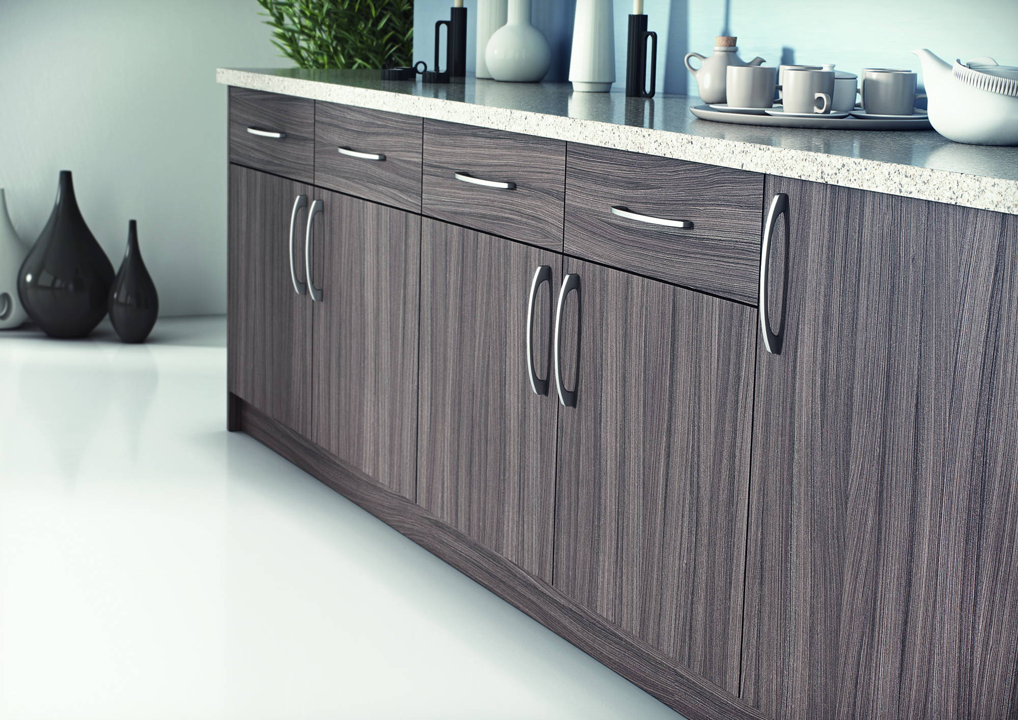 wood finish cupboard doors and drawer fronts
