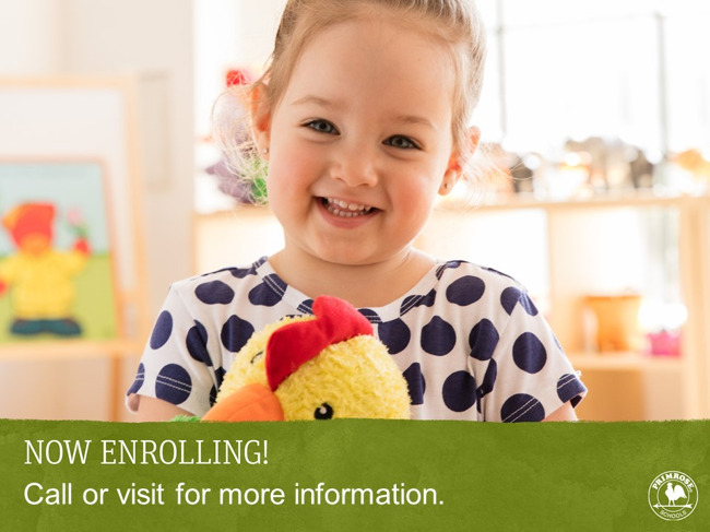 Now enrolling poster featuring a happy toddler holding Percy the chicken