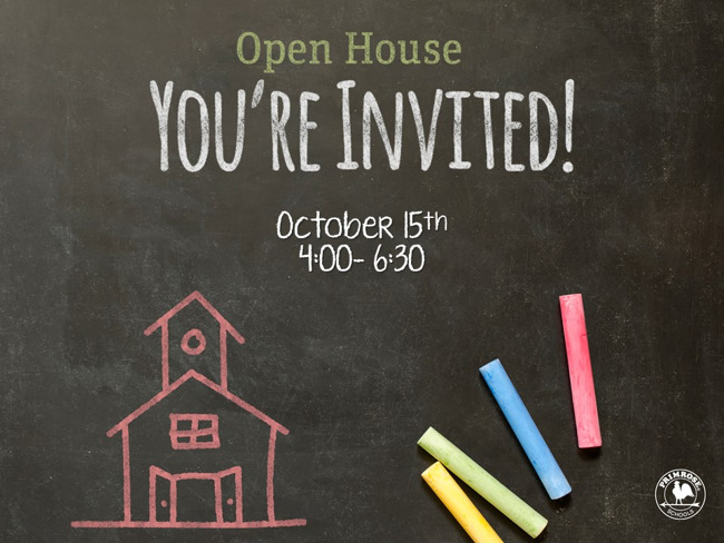Open House October 15th 4:00-6:30 PM