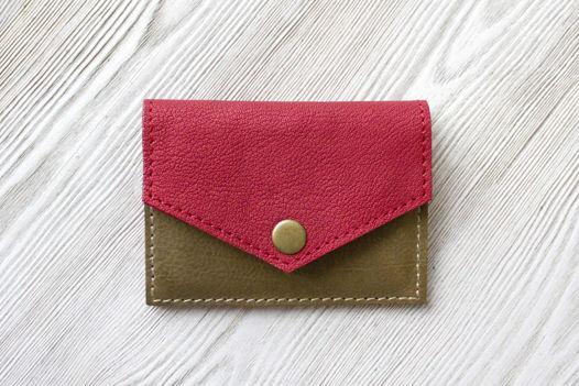 Кожаный кошелек ручной работы для мелочи и карт