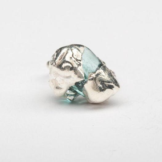 Кольцо из стекла Аквамарин