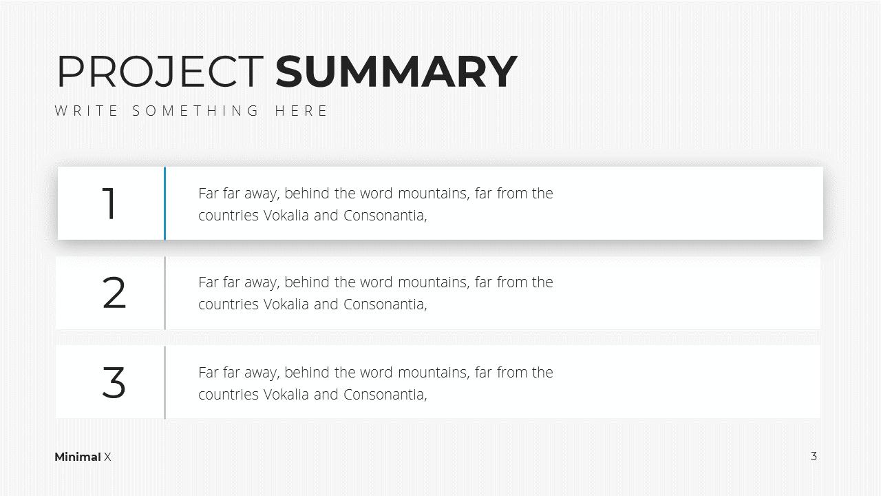 Minimal X Project Proposal Presentation Template Project Summary