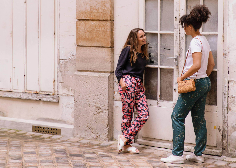 Nêge Paris – Pantalons de pyjamas de la première collection automne-hiver dans des coloris verts, bleus et rouges
