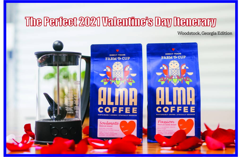 Bags of Alma Coffee and a French Press atop rose pedals