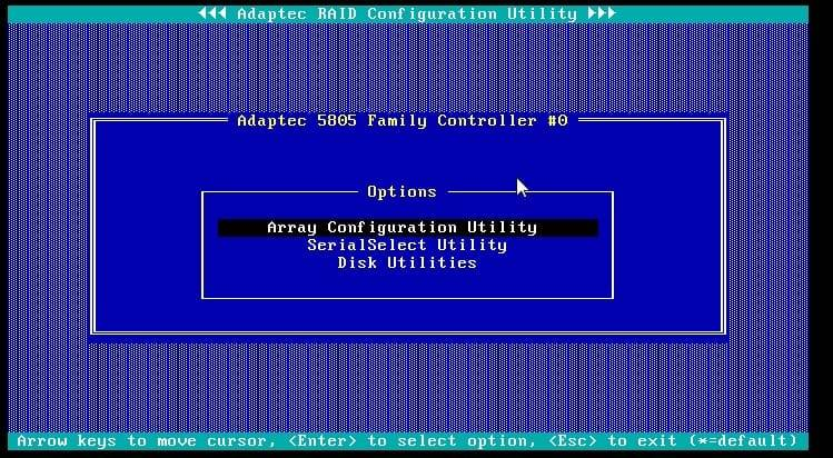 configuration screen for the adaptec 5805 raid controller
