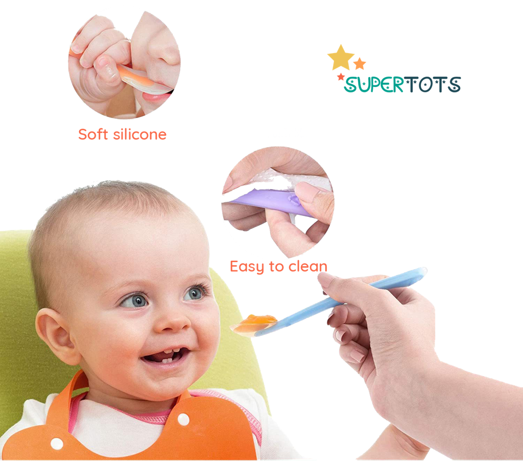 Baby being handed food on SuperTots silicone spoon which is easy to clean