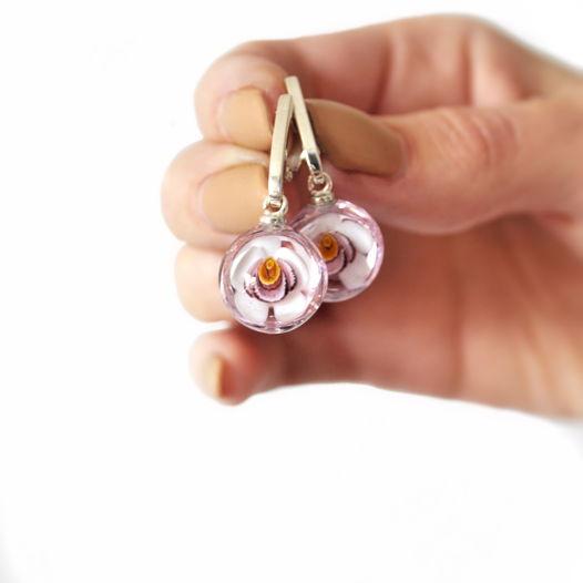 Серьги из мурманского стекла и серебра «Орхидеи»