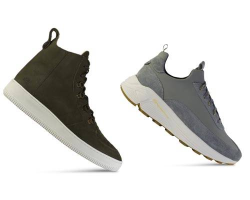 Mens green high top sustainable canvas sneaker from sustainable brand Ekn footwear and mens grey chunky dad trainer