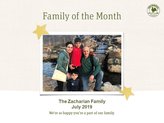 zacharian family of the month july 2019