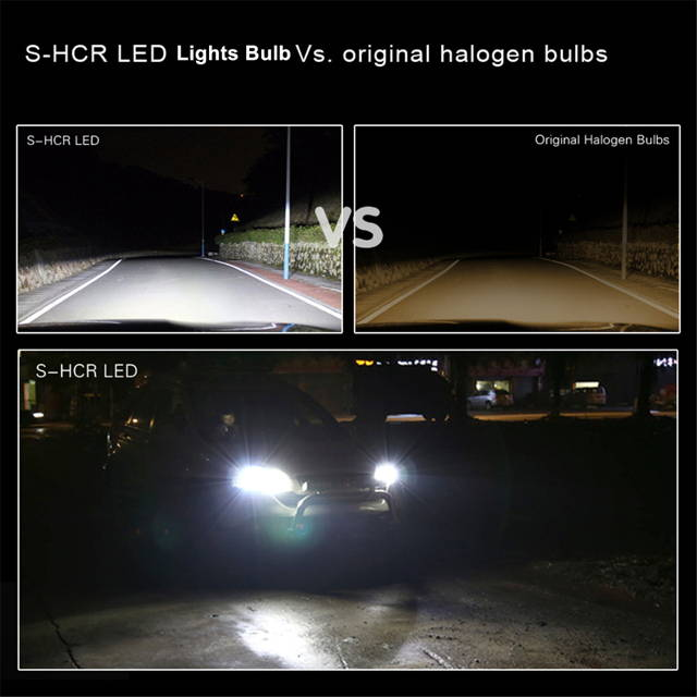Alla Lighting S-HCR 9008 H13 LED Forward lighting Bulb vs Halogen Headlamp