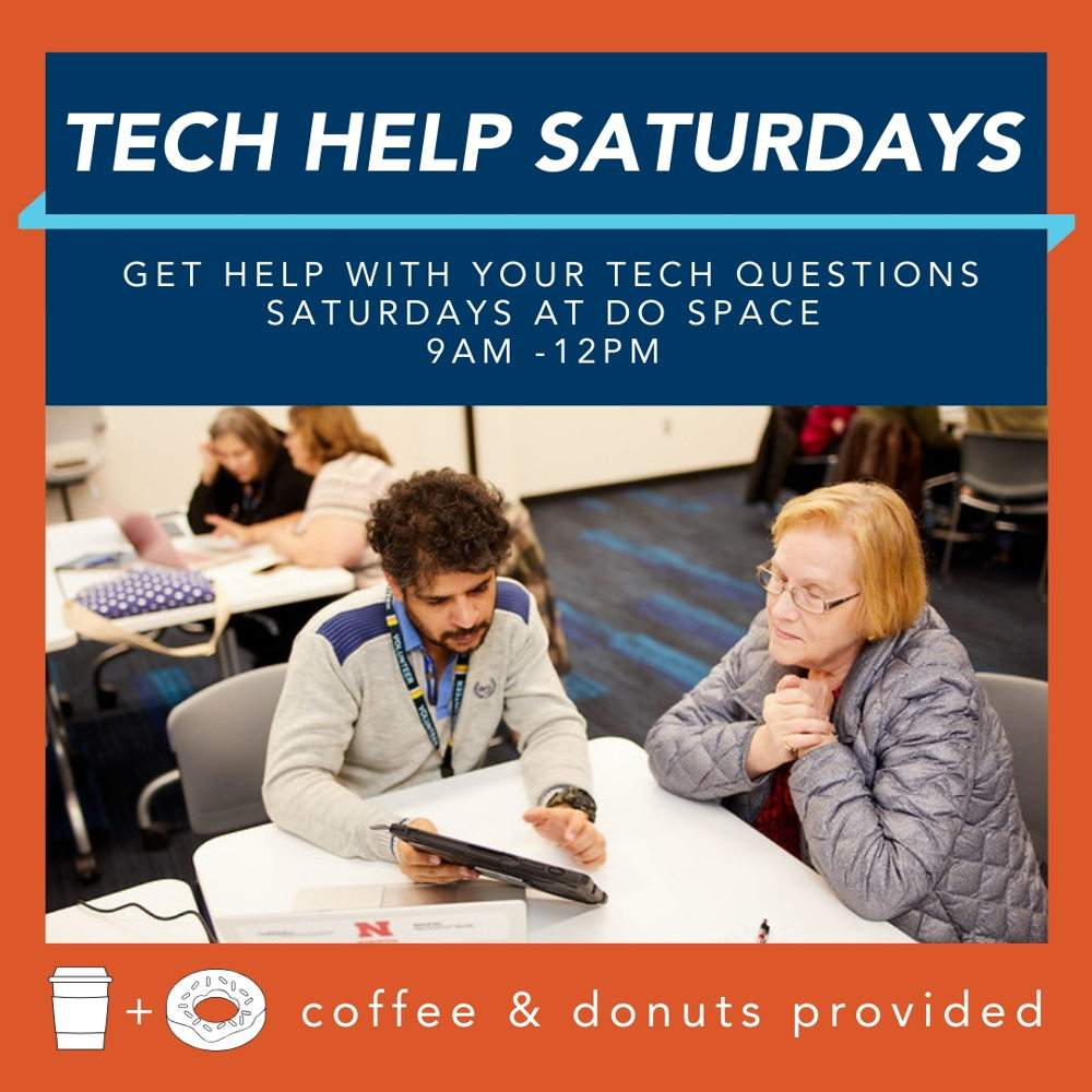 Picture of Tech Help Saturdays is a weekly drop-in mentoring session where attendees can learn technology skills.