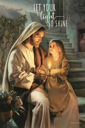 LDS art poster of Jesus and a little girl holding a candle.