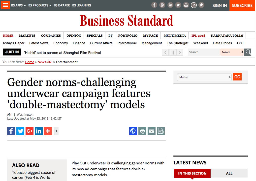 Business Standard - Gender norms-challenging underwear campaign features 'double-mastectomy' models