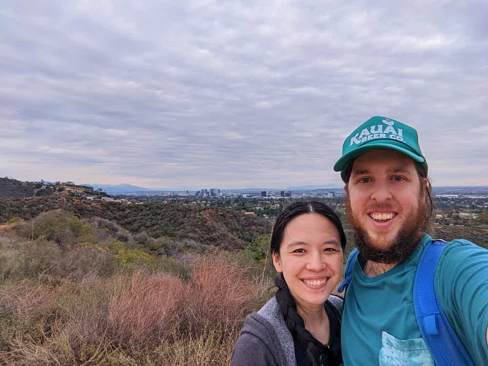 Couple selfie at Inspiration Point at Will Rogers State Historic Park in Los Angeles